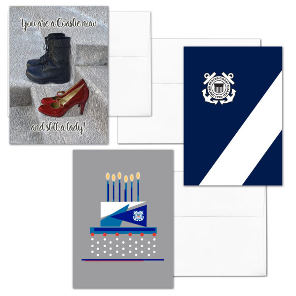 She Three - Mixed pack of 3 US Coast Guard female Coasties military appreciation greeting cards - including envelopes - by 2MyHero