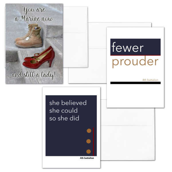 She Three - Mixed pack of 3 US Marine Corps female Marine military appreciation greeting cards - including envelopes - by 2MyHero