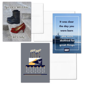 She Three - Mixed pack of 3 US Navy female Sailors military appreciation greeting cards - including envelopes - by 2MyHero