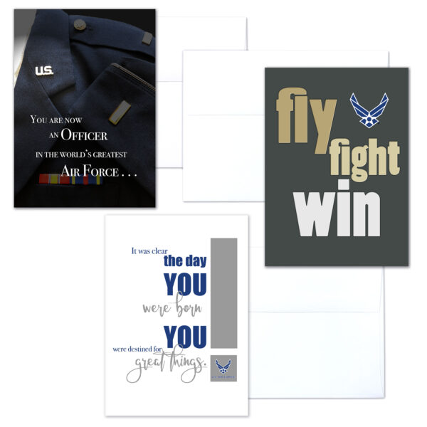 USAF Officer Three - mixed pack of military greeting cards for commissioned officers - 2MyHero