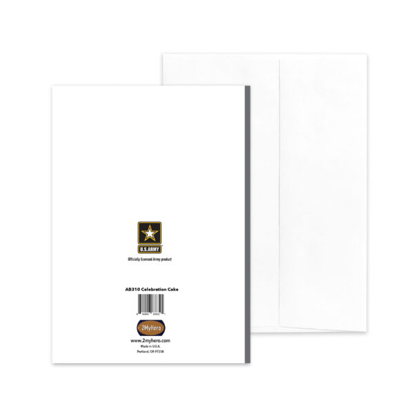 US Army Congratulations Soldier greeting card with envelope - Celebration Cake - by 2MyHero