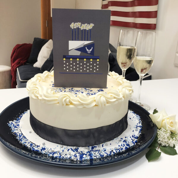 US Air Force Congratulations Airman greeting card with envelope - Celebration Cake - by 2MyHero