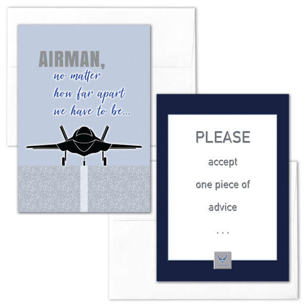 Distance and Advice - mixed pack of 2 military greeting cards and envelopes - For US Air Force - by 2MyHero