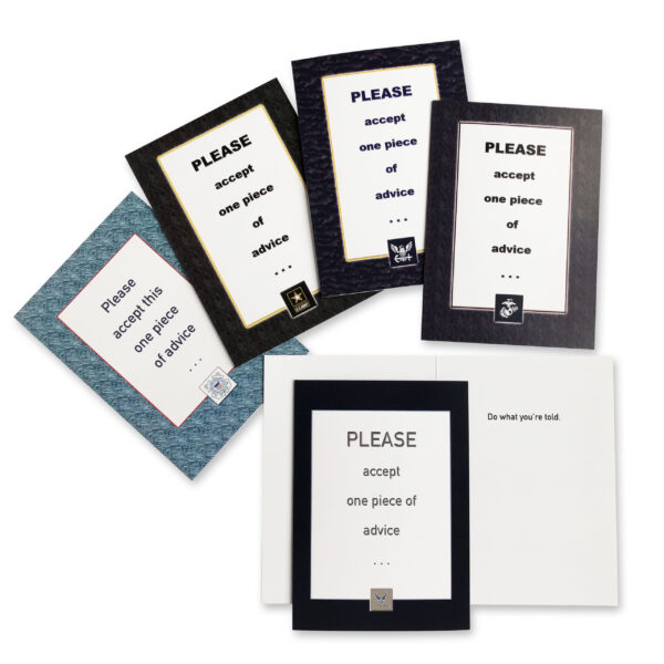 Advice - Military Appreciation Greeting Card for Soldiers, Sailors, Marines and Airmen - includes envelope - by 2MyHero