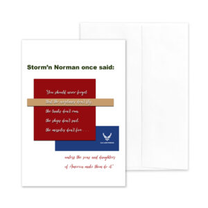 Veteran's Day military greeting card for US Air Force veterans with Storm'n Norman Quote - by 2MyHero