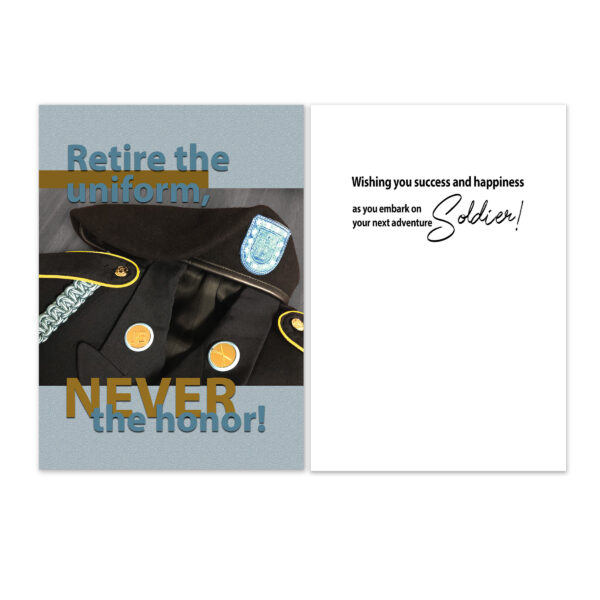 Retire the Uniform - US Army Military Retirement Congratulations Greeting Card for Enlisted Infantry Officers - includes envelope - by 2MyHero
