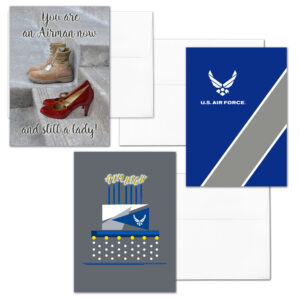 She Three - Mixed pack of 3 US Air Force female Airmen military appreciation greeting cards - including envelopes - by 2MyHero