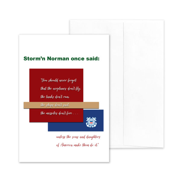 Veteran's Day military greeting card for US Coast Guard veterans with Storm'n Norman Quote - by 2MyHero