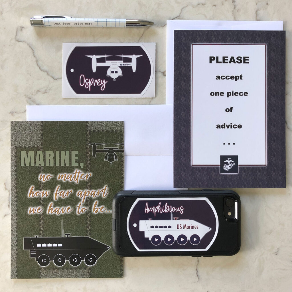 Distance and Advice - US Marine Corps - Set of 2 Military Greeting Cards and 2 Stickers - Includes Envelopes