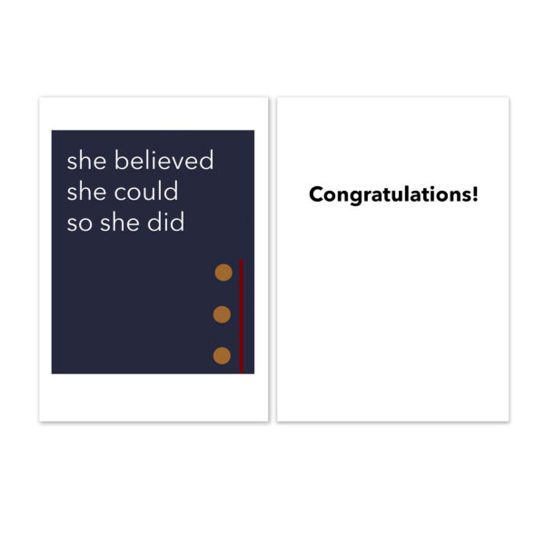 She Believed - US Marine Corps Military Appreciation Congratulations Greeting Card for Female Marines - by 2MyHero