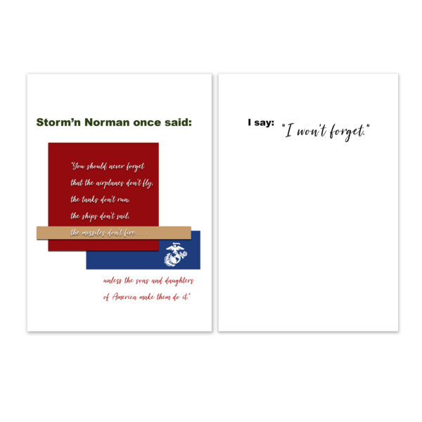 Veteran's Day military greeting card for US Marine Corps veterans with Storm'n Norman Quote - by 2MyHero
