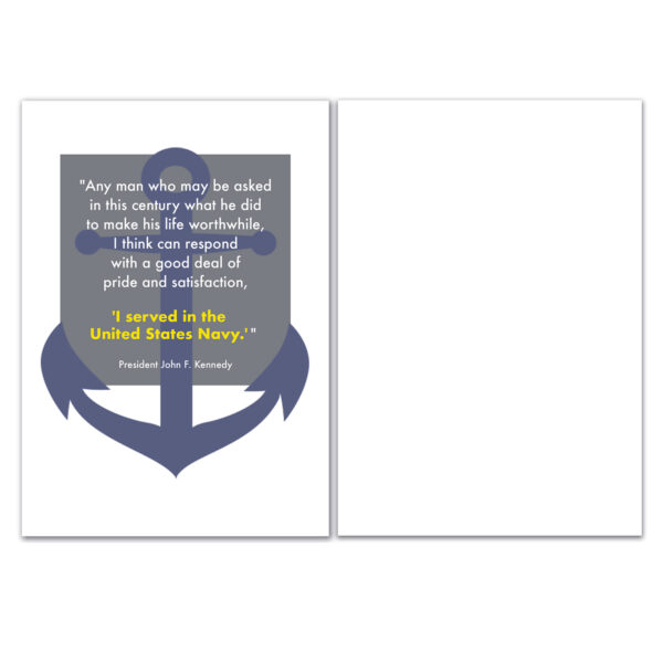 JFK Quote - Military Appreciation Greeting Card for US Navy Sailors, Pilots, Submariners - includes envelope - by 2MyHero