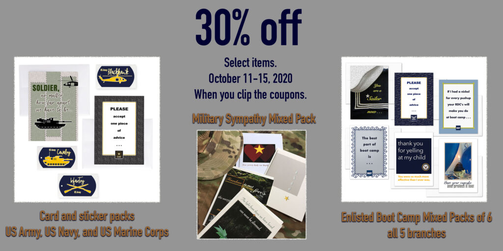 Mixed Packs for Army, Navy, Air Force, Coast Guard and Marine recruits at boot camp - military greeting cards from 2MyHero are 30% off when you clip the coupon.