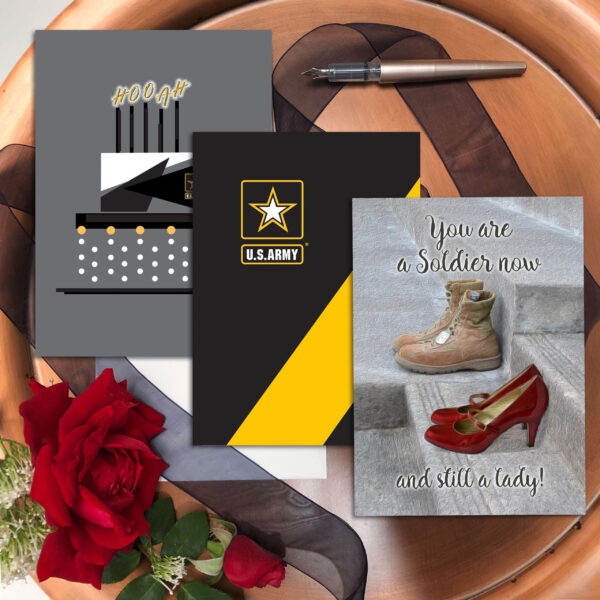 She Three - Mixed pack of 3 US Army female soldier military appreciation greeting cards - including envelopes - by 2MyHero