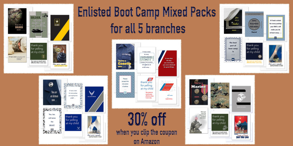 Mixed Packs for Army, Navy, Air Force, Coast Guard and Marine recruits at boot camp - military greeting cards from 2MyHero are 30% off when you clip the coupon during Prime Days.