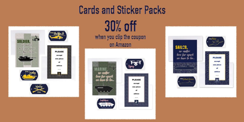 Mixed Packs of military greeting cards and stickers  for Army, Navy,  and Marine recruits at boot camp - from 2MyHero are 30% off when you clip the coupon during Prime Days.
