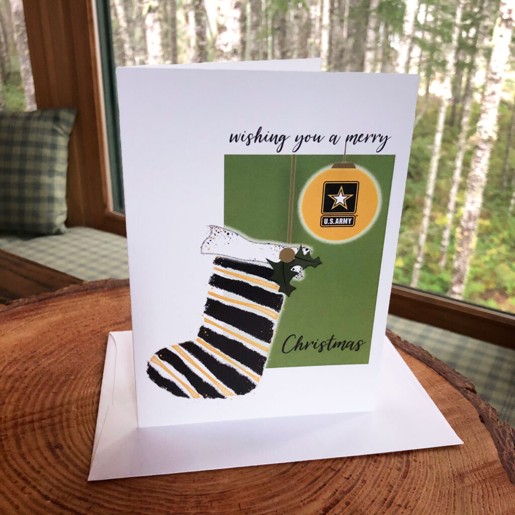 US Army Holiday Soldier greeting card with envelope - Merry Christmas Soldier - by 2MyHero