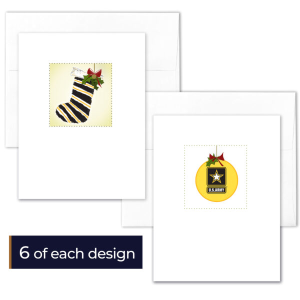 US Army Christmas Holiday Box of 12 US Army greeting cards with envelopes - Merry Christmas Soldier- by 2MyHero