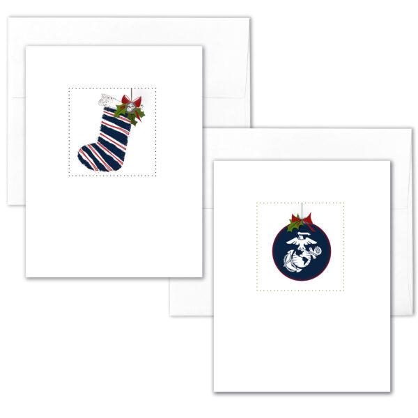 US Marine Corps Holiday Box of 12 Marine greeting cards with envelopes - Merry Christmas Marine- by 2MyHero