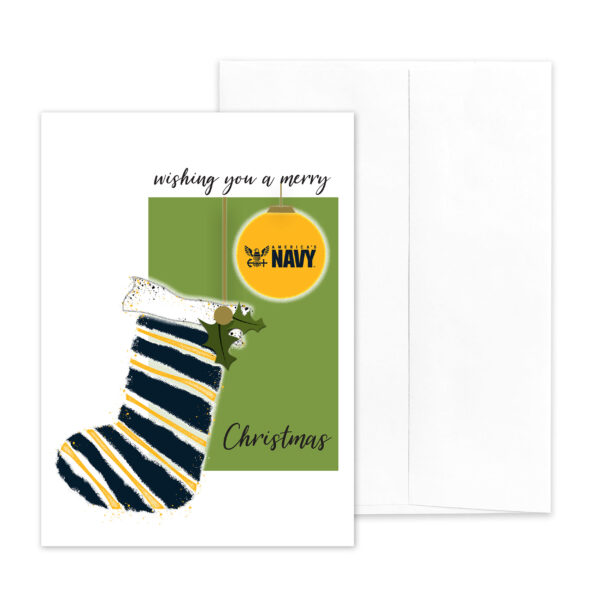 US Navy Christmas Holiday Sailor greeting card with envelope - Merry Christmas Sailor - by 2MyHero