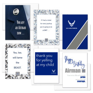 Airman Mixed Pack - USAF enlisted military boot camp graduation greeting cards - by 2MyHero