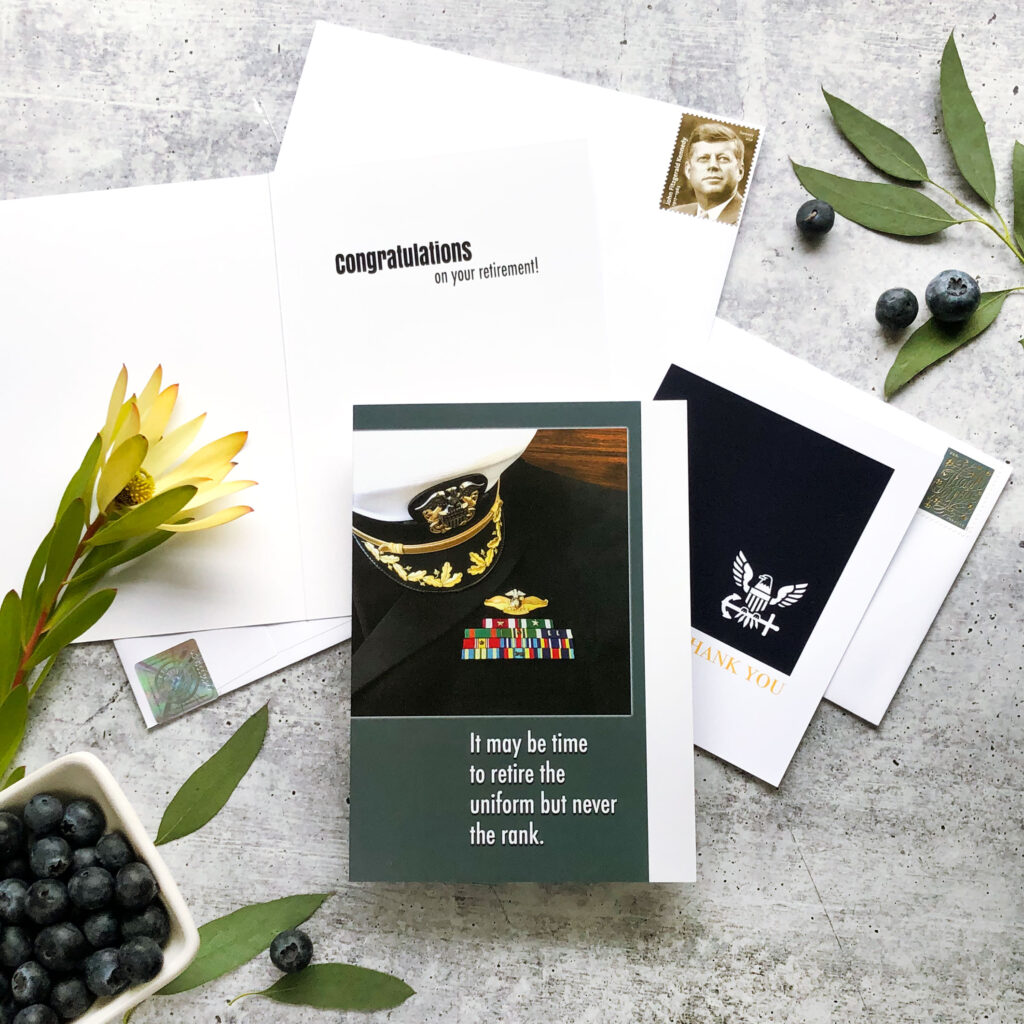 Retire the Uniform - US Navy Military Retirement Congratulations Greeting Card for Naval Officers - includes envelope - by 2MyHero