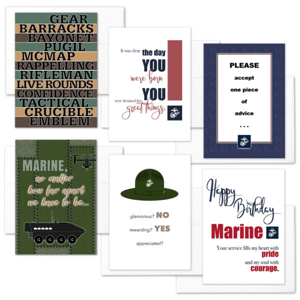 12 Weeks Mixed Pack- USMC boot camp military greeting cards and envelopes - by 2MyHero