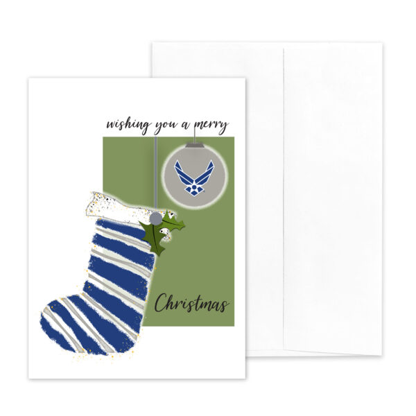 USAF Christmas Holiday Airman greeting card with envelope - Merry Christmas Airman - by 2MyHero