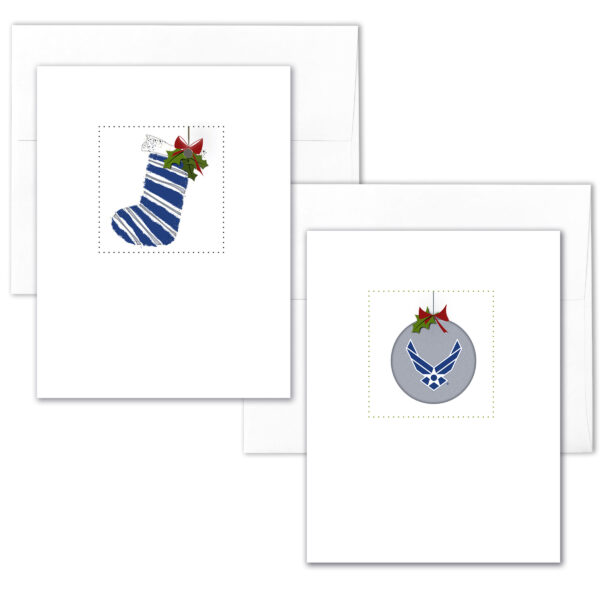 US Air Force Christmas Holiday Box of 12 USAF greeting cards with envelopes - Merry Christmas Airman- by 2MyHero