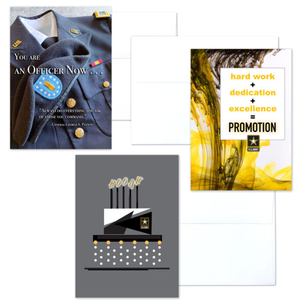 US Army Officer Three - mixed pack of military greeting cards for commissioned officers - 2MyHero