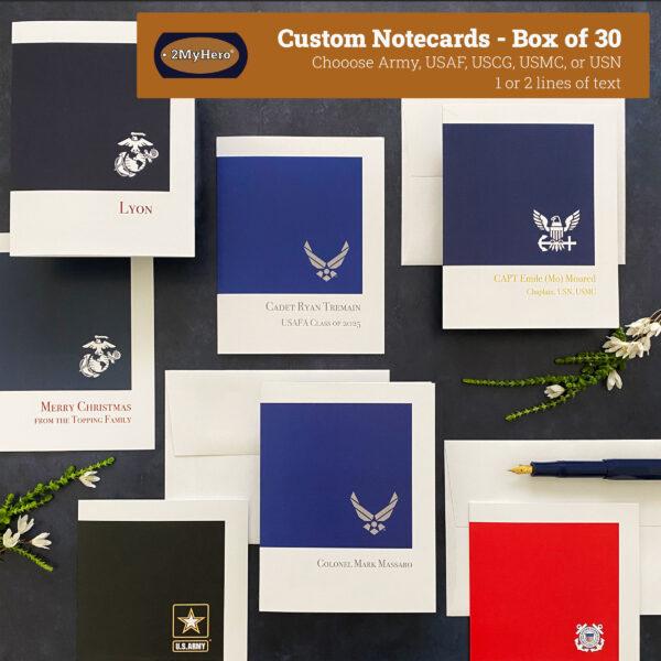 2MyHero Custom options for Box of 30 notecards