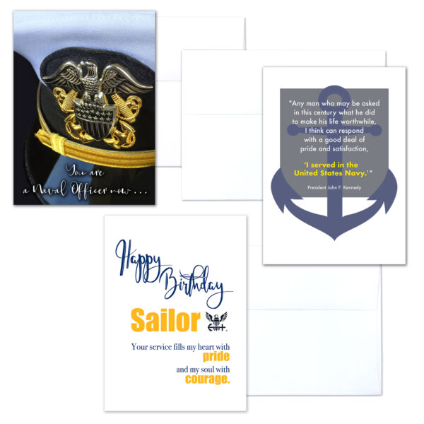 USN Officer Three - mixed pack of military greeting cards for commissioned officers - 2MyHero
