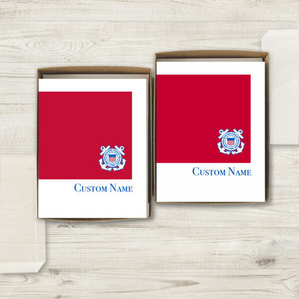 2MyHero USCG Customizable box of notecards for Coasties 30 blank note cards and 30 envelopes