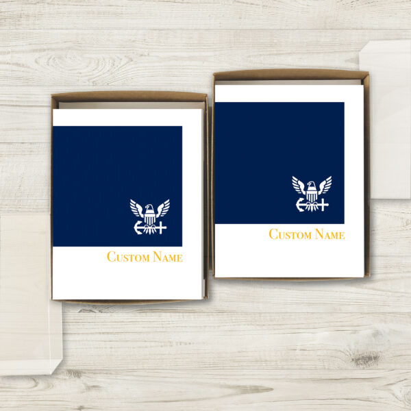 2MyHero USN Customizable box of notecards for Sailors 30 blank note cards and 30 envelopes