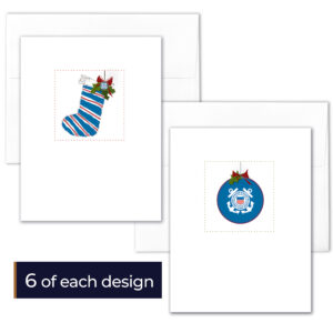 USCG boxed Christmas cards include 6 cards of each design (Stocking and USCG Ornament) for 12 cards and 12 envelopes. Perfect for Coasties and their families.