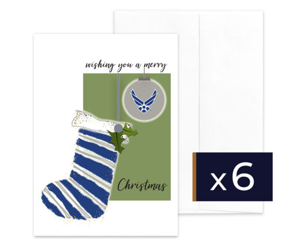 USAF Christmas Holiday Airman greeting card with envelope - Merry Christmas Airman - Pack of 6 - by 2MyHero